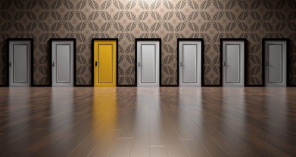 Yellow door representing opportunity.